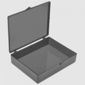 139-14 Black plastic box with hinged cover, 10 ks/bal