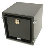 G3518-22204-S Black desiccator cabinet  with 2 chambers and 4 perforated black shelves