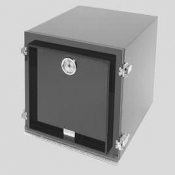 G3518-22206-S Black desiccator cabinet  with 2 chambers and 4 perforated black shelves