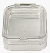 EM-Tec M22 Clear membrane storage box with hinge and clasp, 50 x 50 x 25 mm, 12 ks/bal