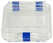 EM-Tec M44 Clear membrane storage box with hinge and clasp, 100 x 100 x 40 mm, 1 ks/bal