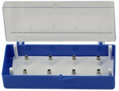 EM-Tec SH8 small size clear/blue styrene box for 8 x 15mm Hitachi M4 stubs, 1 ks/bal