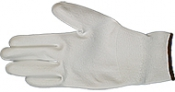 EM-Tec ESD safe PU coated knitted nylon gloves, white, size M, 1 pair