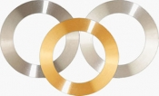 Annular Gold target ᴓ82 x ᴓ60mm x 0,4mm on Support Ring, 99,99% Au